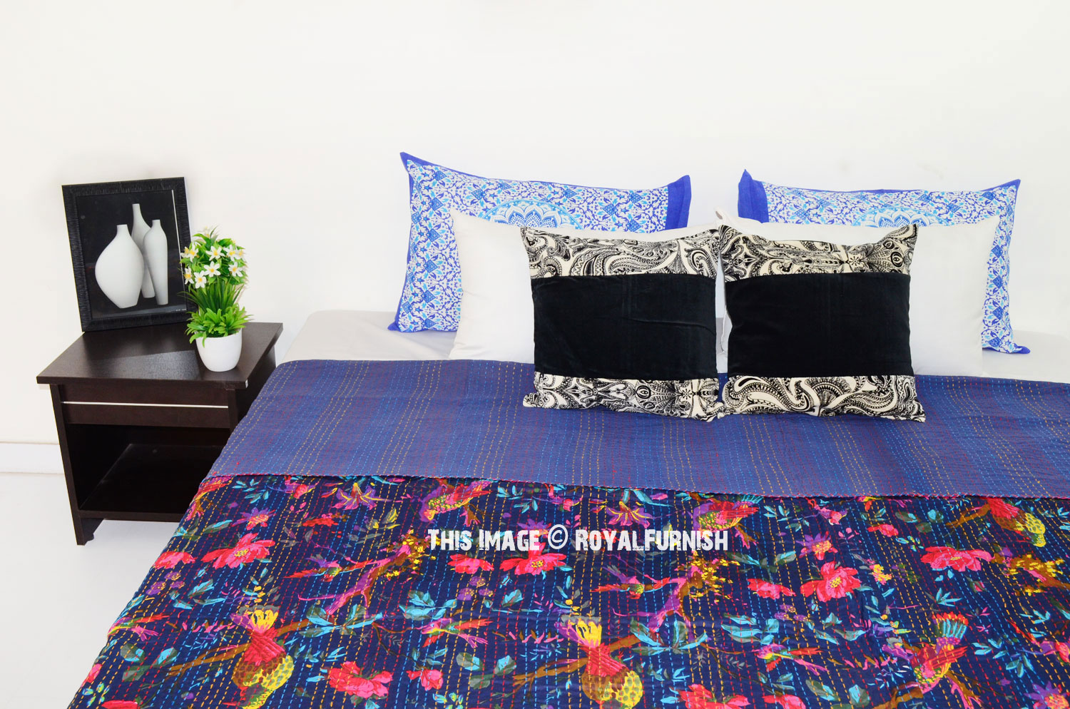 Dark Blue Bird Paradise Tree Featuring Cotton Kantha