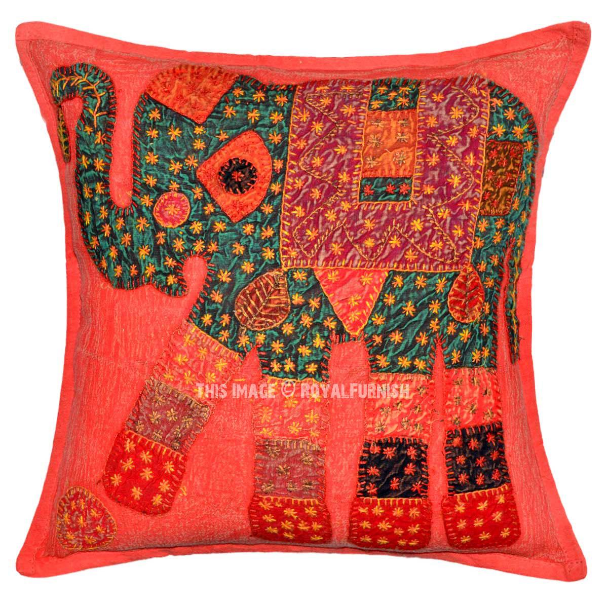 Elephant Throw Pillow Case : Burgundy Colorful One-Of-A-Kind Elephant Throw Pillow Case 16X16 Inch - RoyalFurnish.com