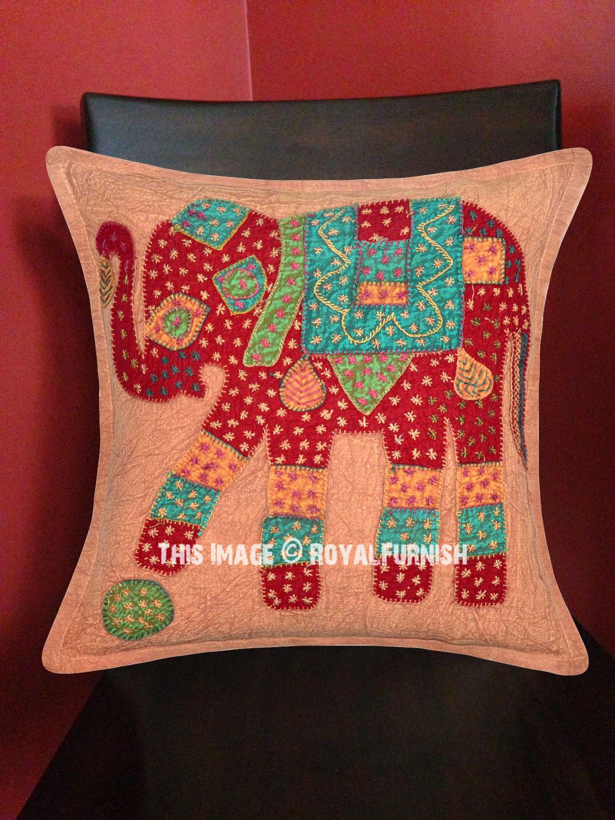 Brown Decorative Bohemian Patchwork Square Elephant Pillow