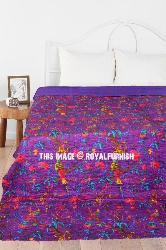 purple birds paradise and tree branch printed kantha quilt blanket