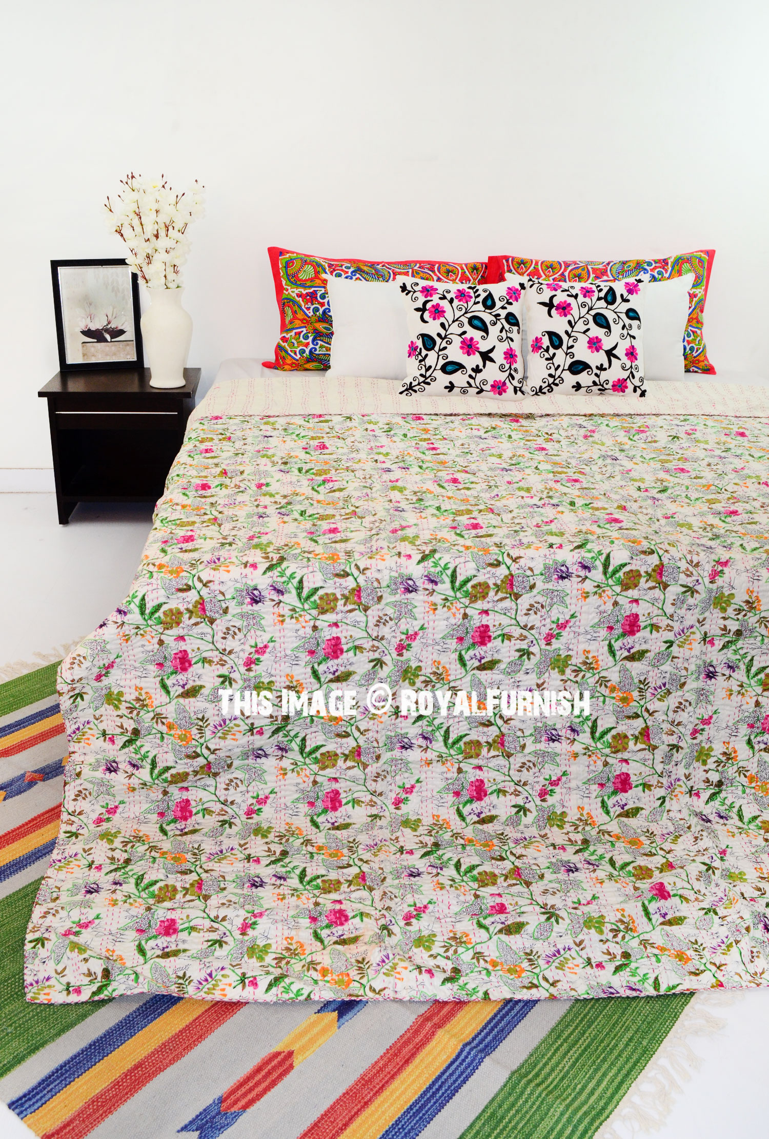 White Multi Tree Of Life Cotton Kantha Quilted Blanket