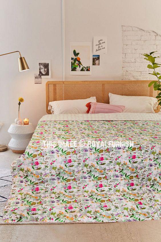 indian throw kantha throw Queen Size kantha quilt reversible blanket floral kantha bedspread vintage kantha quilt Bedding E1704