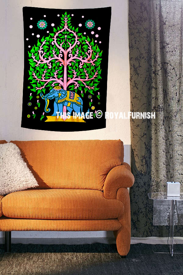 Multi Colorful Hand Painted Asian Elephant Tree Cloth Fabric Poster