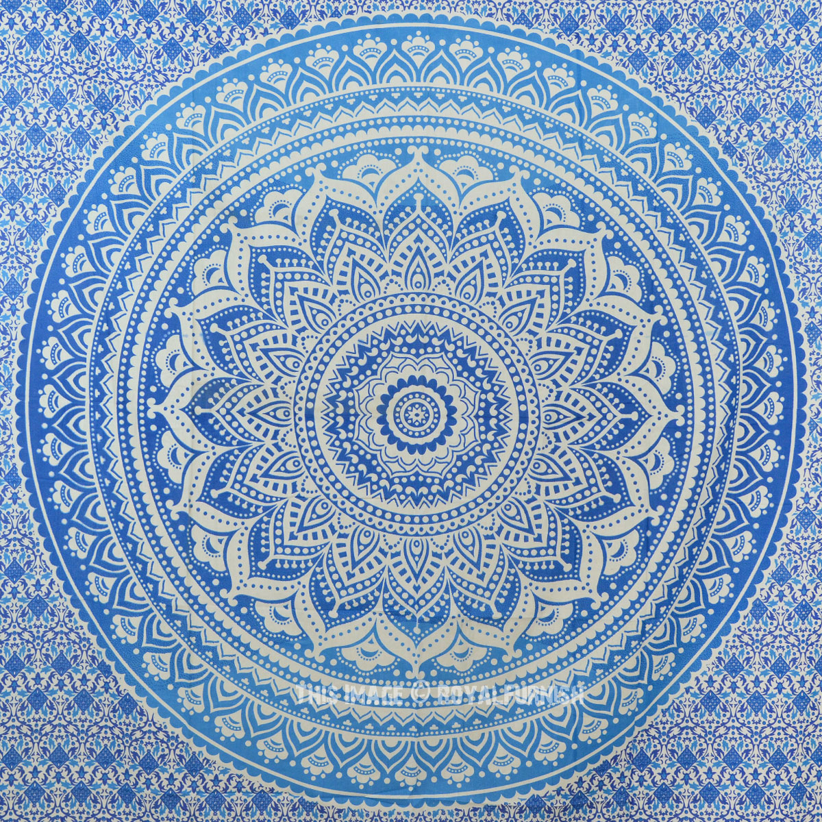 Small Blue Goddess Ombre Mandala Tapestry Floral Wall