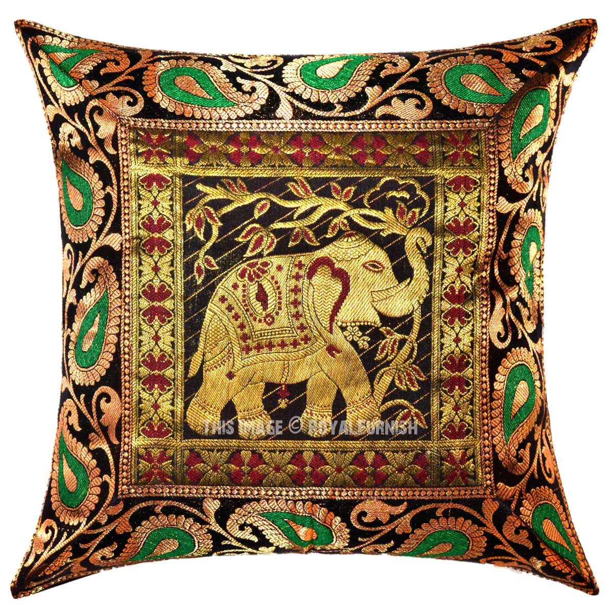 Black Decorative Pillow Cases : Black Decorative and Accent Outdoor Elephant Silk Throw Pillow Case 16x16 Inch - RoyalFurnish.com