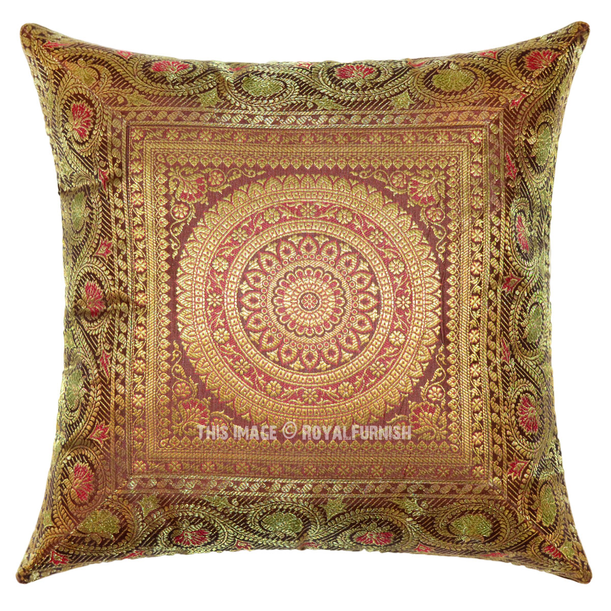 brown shimmer flowers medallion circle unique decorative silk pillow cover 16x16. Black Bedroom Furniture Sets. Home Design Ideas