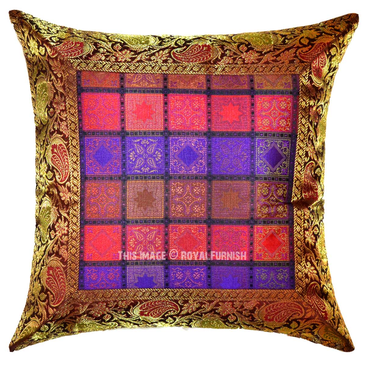 Small Brown Decorative Pillows : Brown Multi Small Designed Square Boxes Unique Silk Accent Pillow Cover 16X16 Inch ...