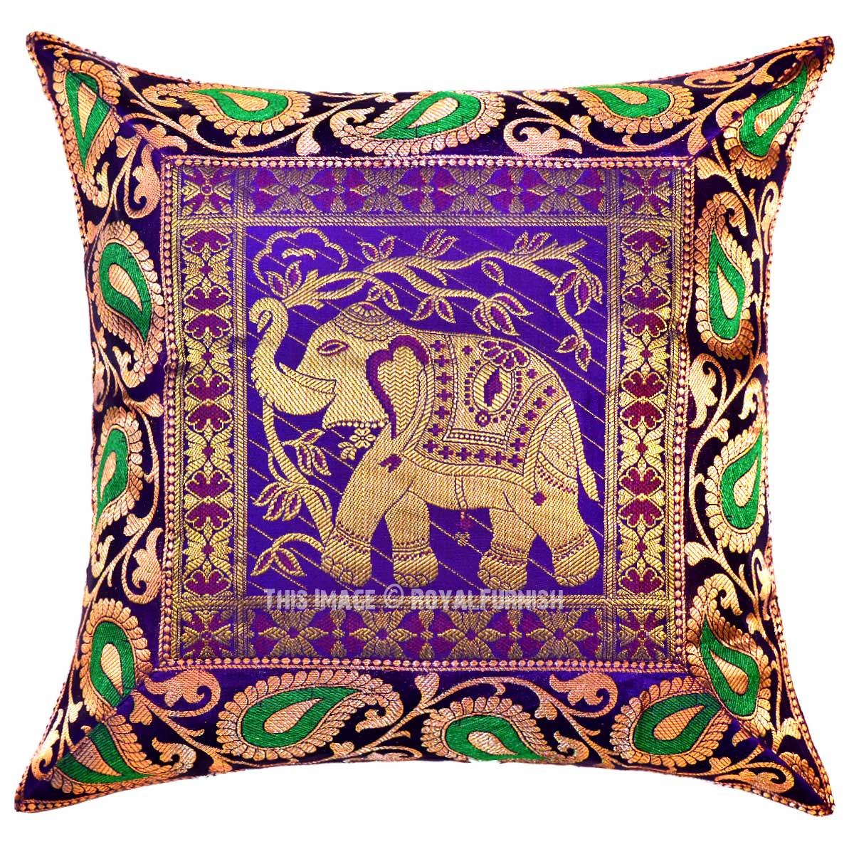 Purple Silk Throw Pillows : Purple Kerala Elephant Decorative and Accent Silk Throw Pillow Case 16X16 Inch - RoyalFurnish.com