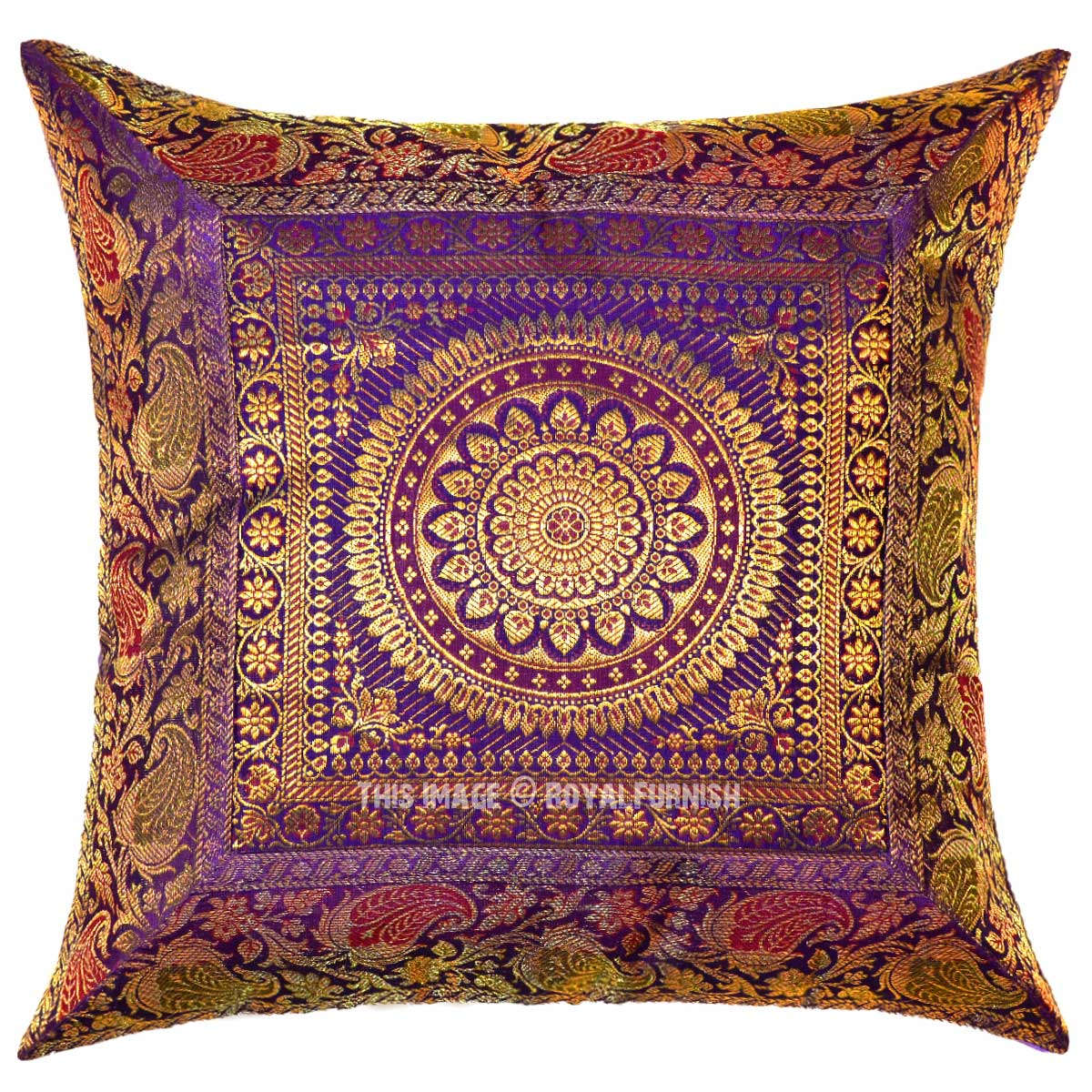 Purple Silk Throw Pillows : Purple Medallion Circle Decorative Outdoor Indoor Silk Square Throw Pillow Cover 16X16 Inch ...