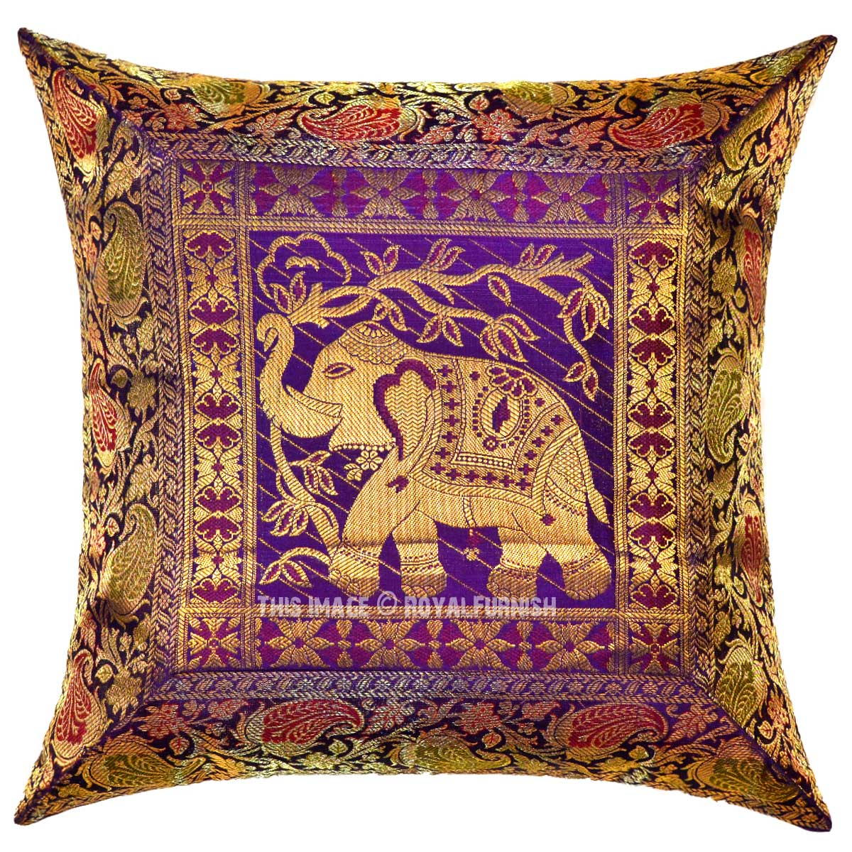 Purple Thai Elephant Featuring Unique Handcrafted Decorative Silk Pillow Sham Cover ...