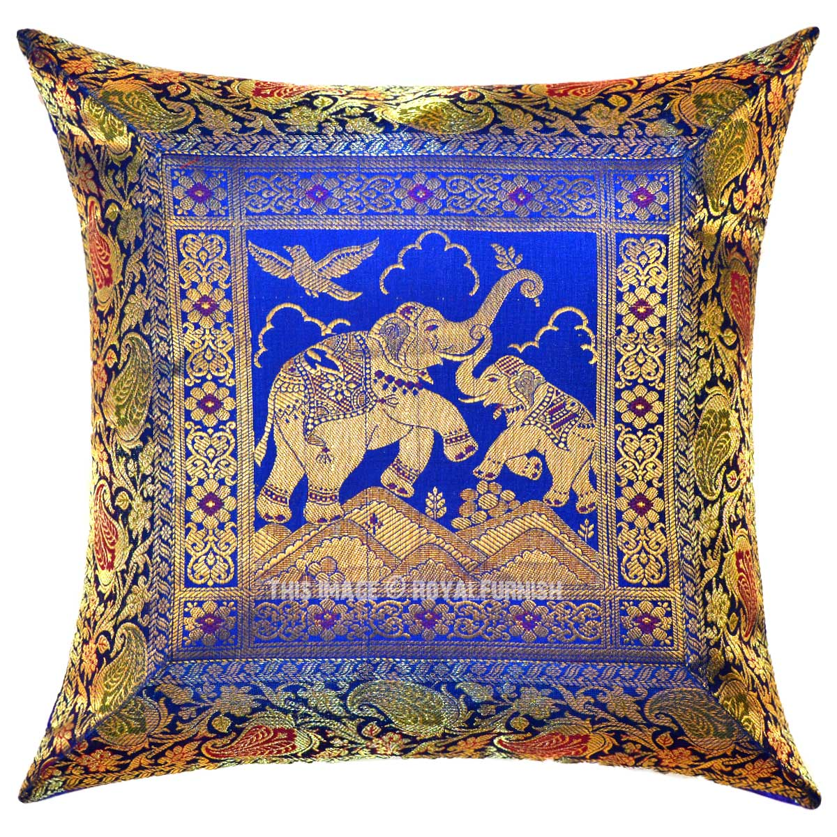 Blue Multi Royal Elephant Featuring Unique Silk Brocade Throw Pillow Cover 16X16 Inch ...