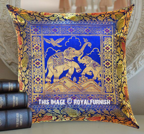 Blue Multi Royal Elephant Featuring Unique Silk Brocade