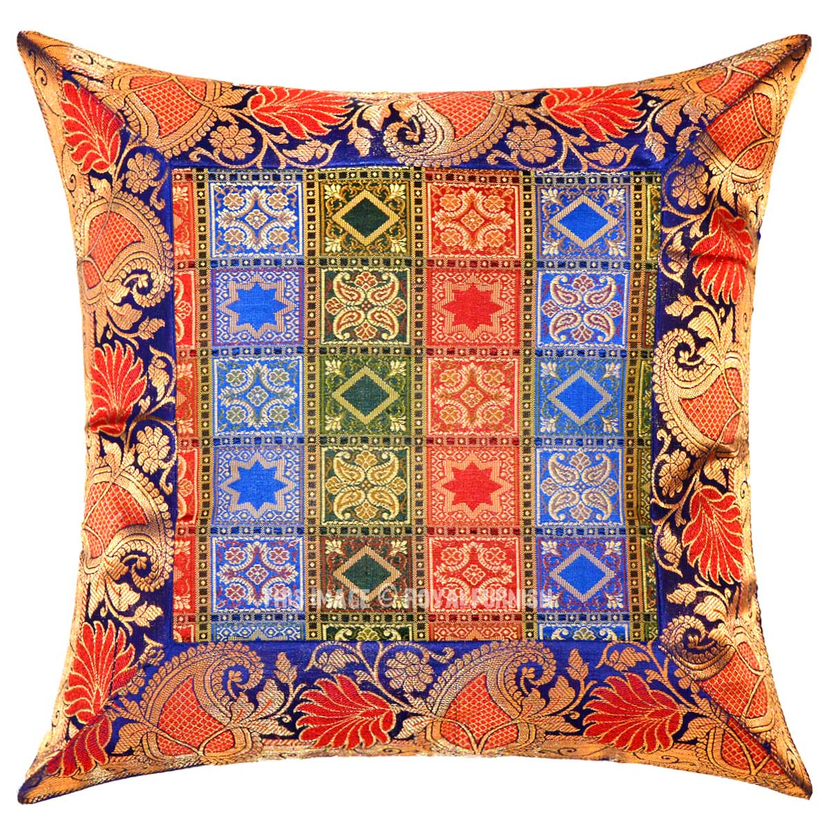16 Inch Blue Decorative Unique One-Of-A-Kind Silk Brocade Throw Pillow Case - RoyalFurnish.com