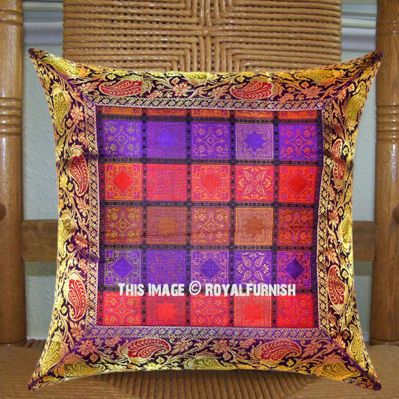 Purple Multi Small Square Boxes Featuring Silk Brocade Throw Pillow Case 16X16 Inch ...