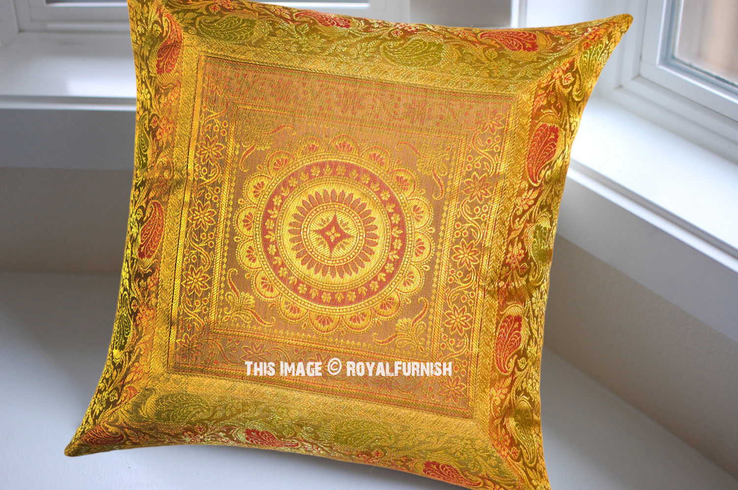 Yellow Silk Decorative Pillows : Yellow Flower Medallion Circle Outdoor Decorative Silk Throw Pillow Cover 16X16 Inch ...