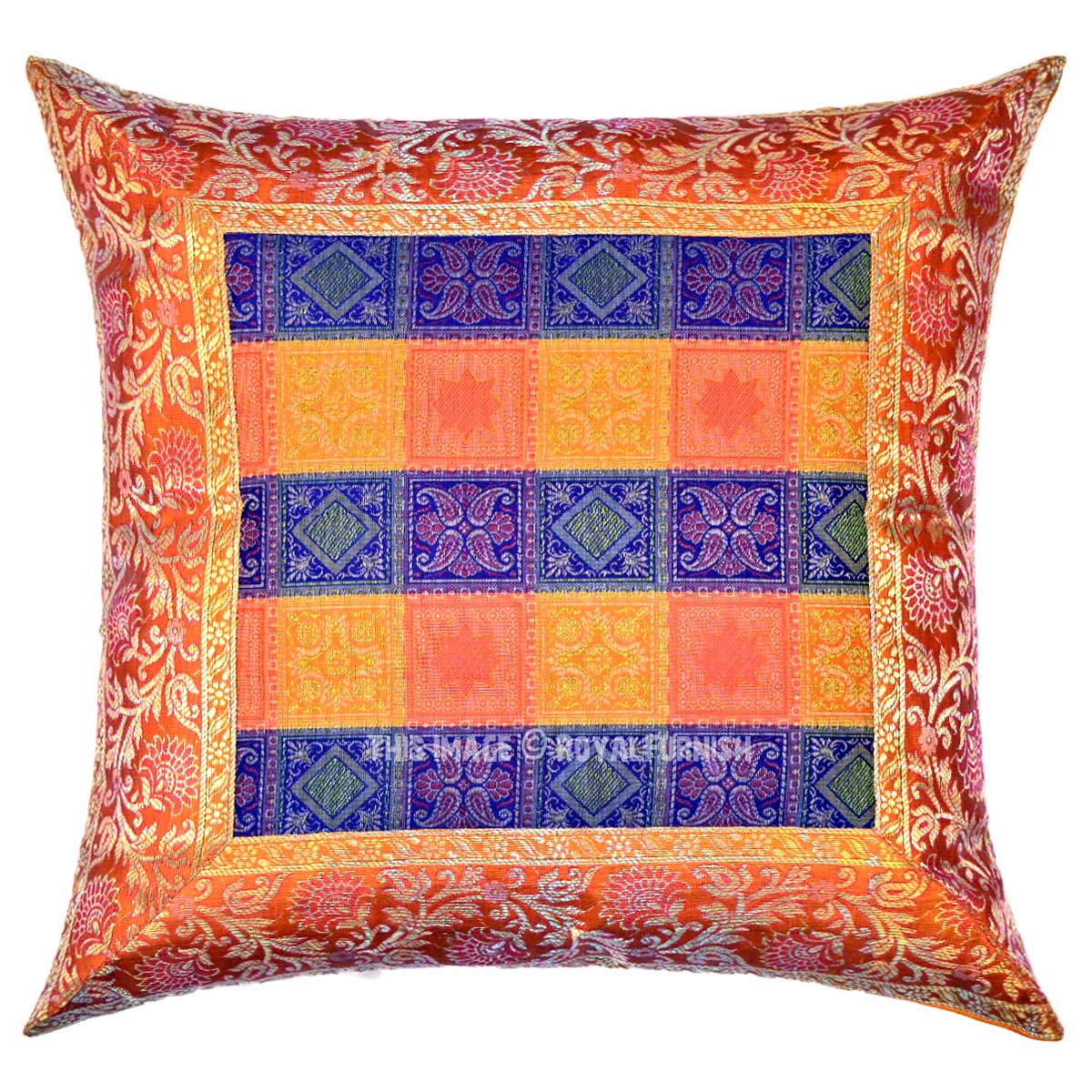 Orange and Blue Multi Small Boxes Featuring Unique Accent Silk Pillow Cover - RoyalFurnish.com