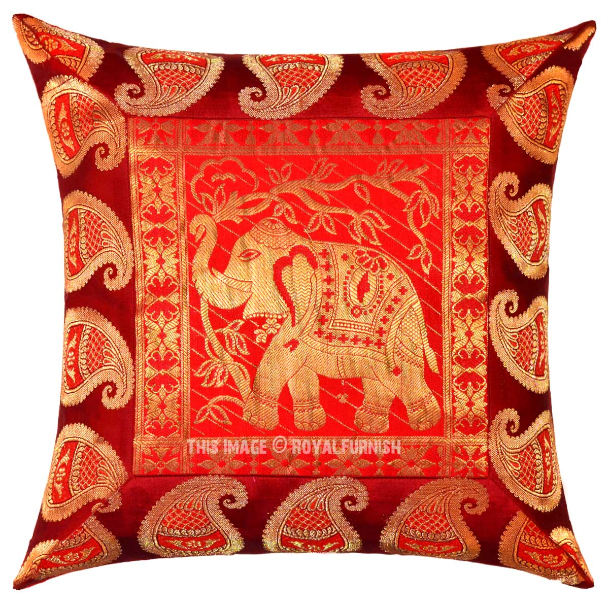 Red Silk Decorative Pillows : Red Multi Royal Elephant Featuring Handcrafted Decorative Silk Throw Pillow Cover - RoyalFurnish.com