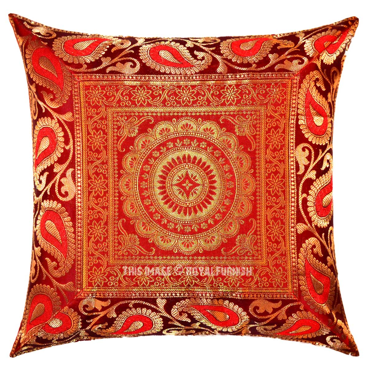 Unique Decorative Accent Pillows : Red Flower Medallion Circle Decorative Unique Handcrafted Silk Pillow Cover 16X16 - RoyalFurnish.com