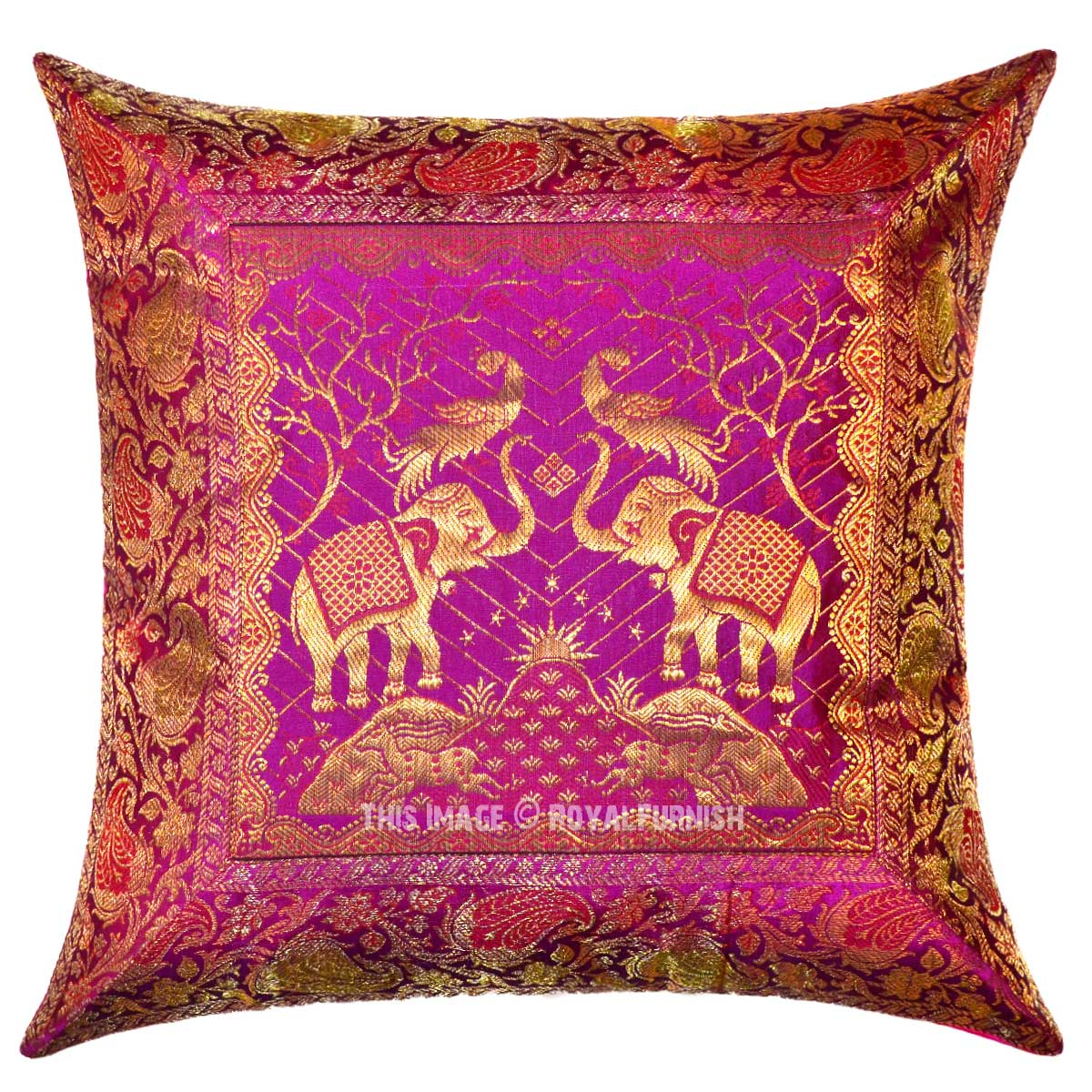 Pink Silk Throw Pillows : Pink Decorative and Accent Elephants and Birds Featuring Silk Pillow Case 16X16 - RoyalFurnish.com