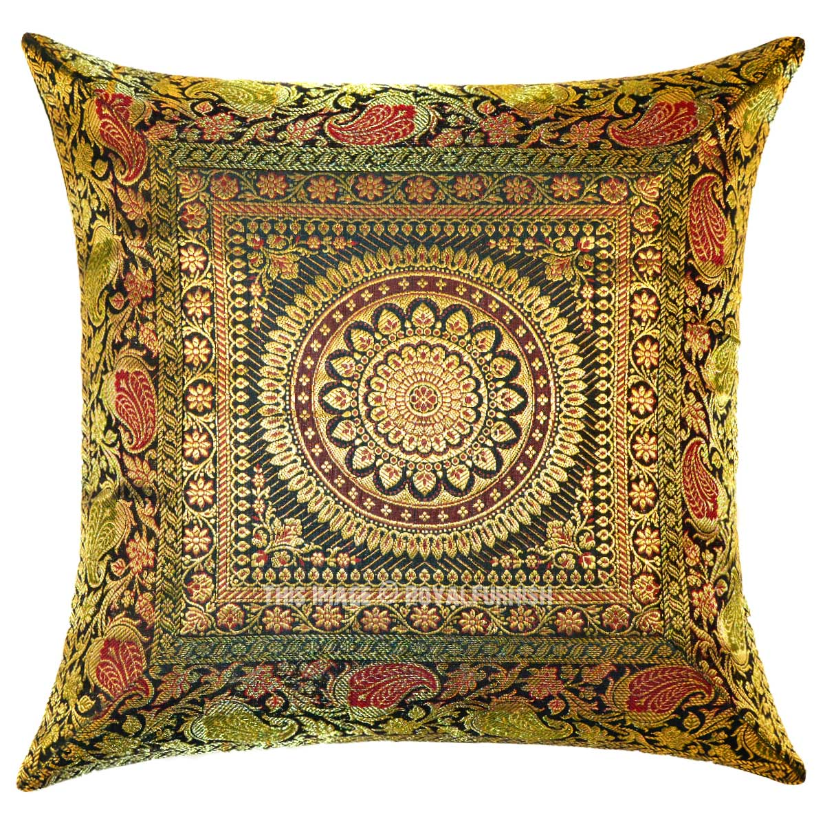 Unique Decorative Accent Pillows : Dark Green Unique Floral Medallion Circle Decorative Silk Square Pillow Cover - RoyalFurnish.com