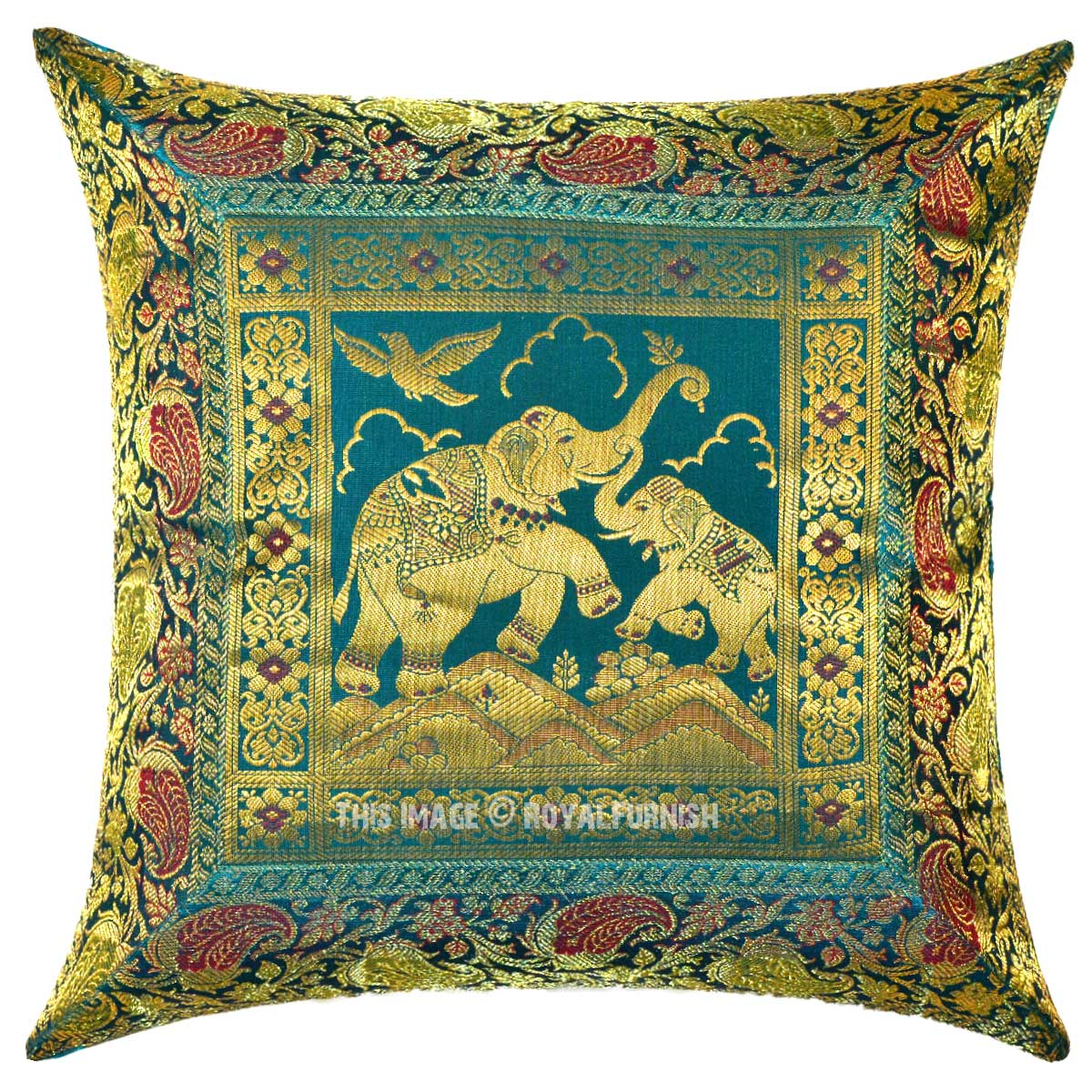 Unique Decorative Accent Pillows : Turquoise 16X16 Decorative Unique Baby Elephants Silk Square Pillow Cover - RoyalFurnish.com