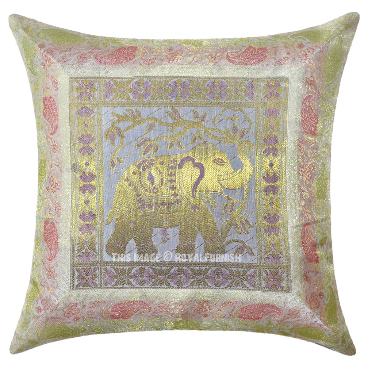 Decorative Pillows White : White Multi Decorative Elephant Silk Throw Pillow Cover 16X16 Inch - RoyalFurnish.com