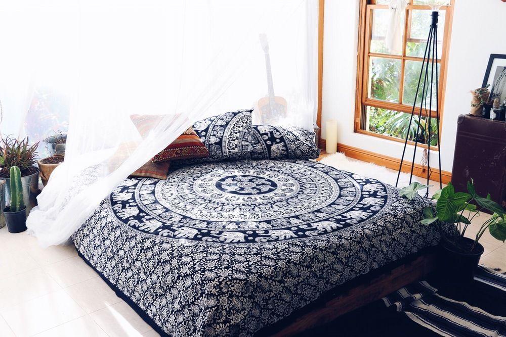 Black & White Hippie Elephant Mandala Duvet Cover Set with