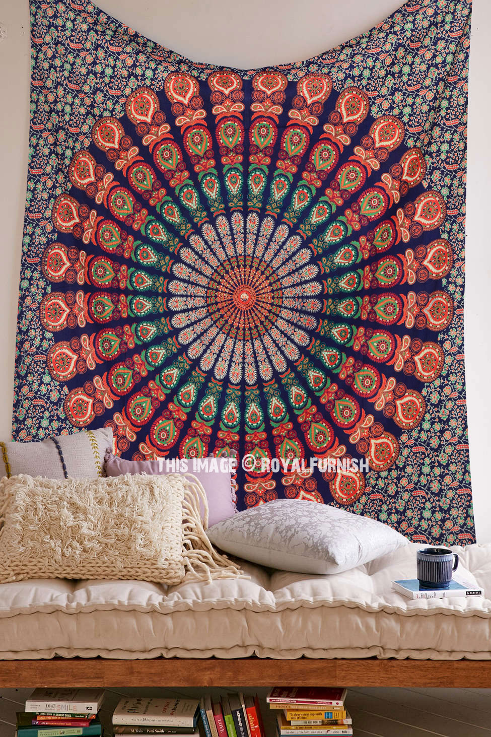 Blue Multi Goddess Plum And Bow Medallion Cotton Wall