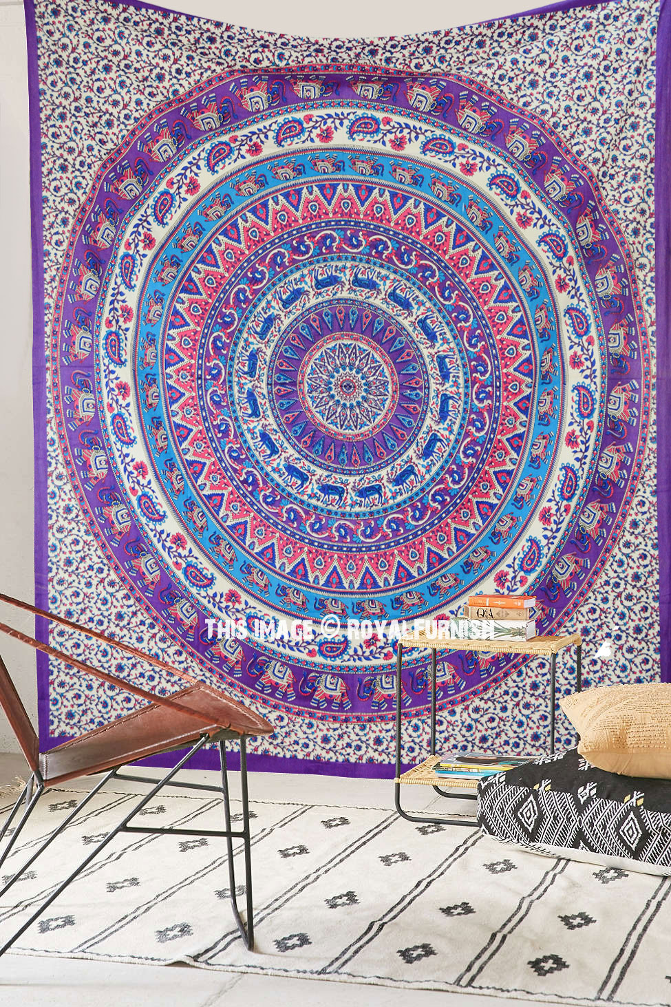 Pink Purple Elephants Deer Medallion Mandala Tapestry