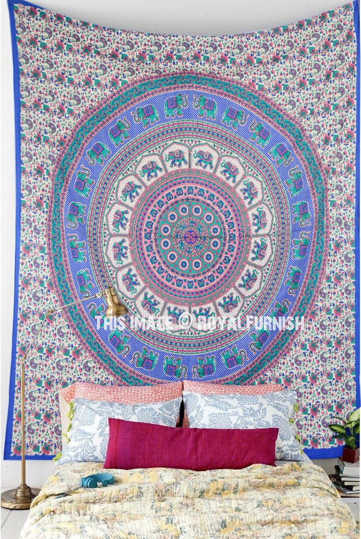 Blue Pink Asian Elephants Rings Medallion Mandala Tapestry
