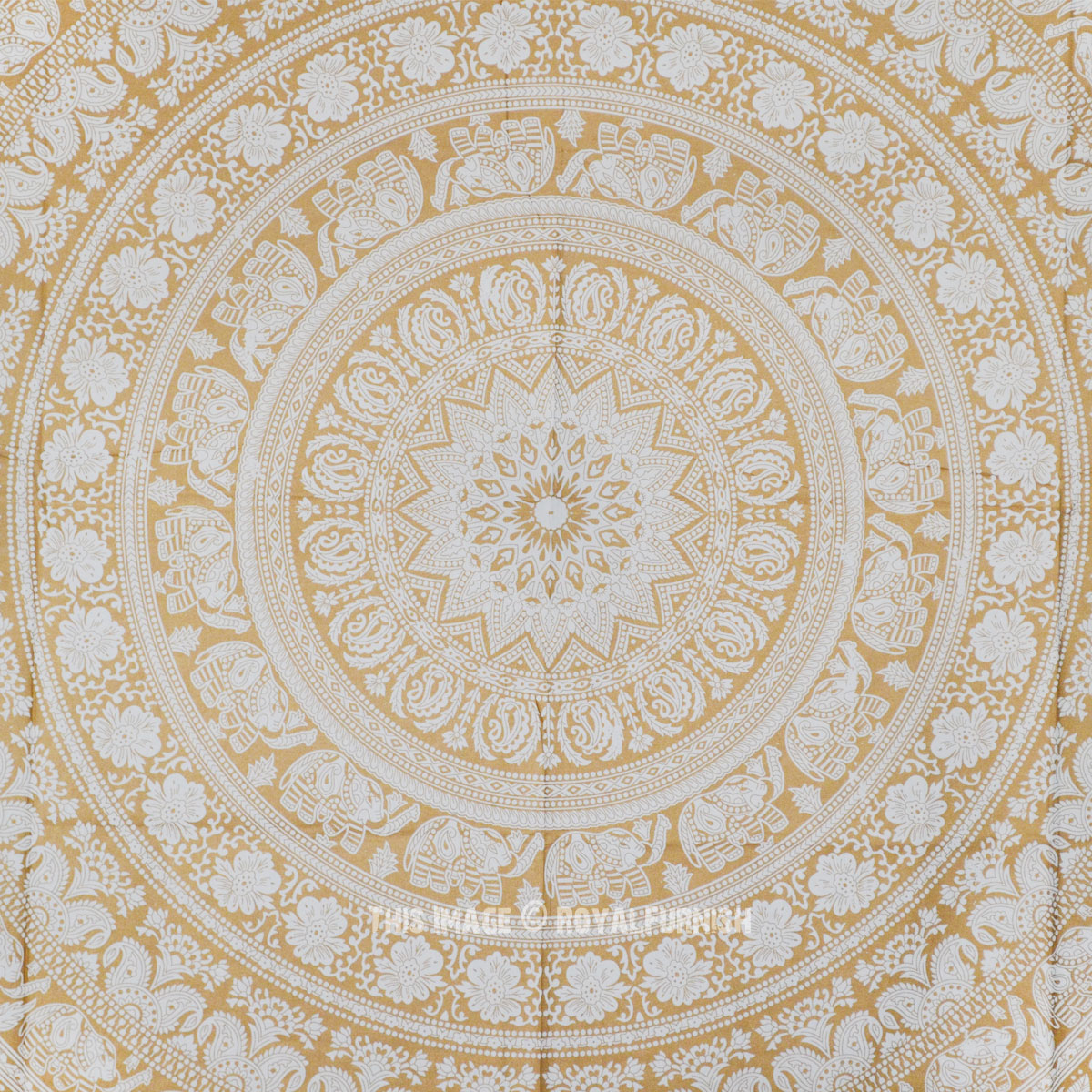 Gold Amp White Elephants Medallion Mandala Tapestry