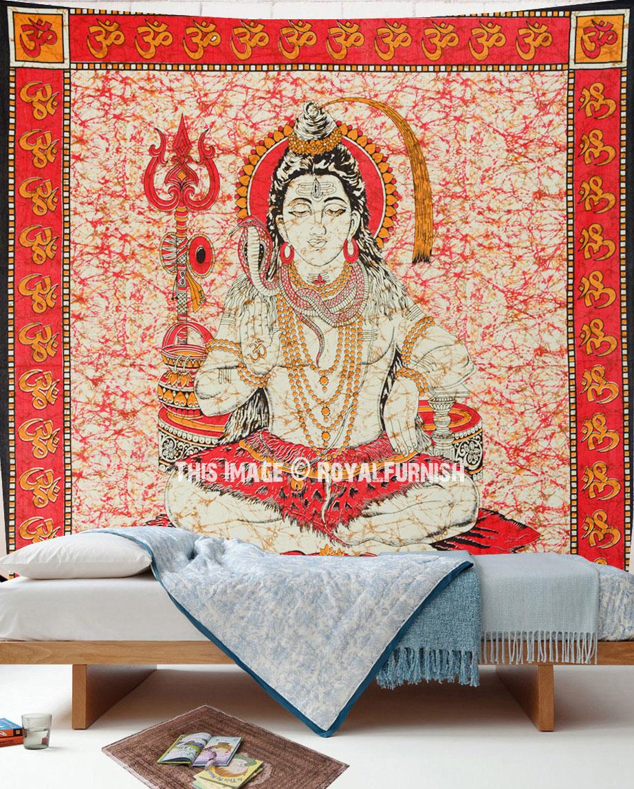 Red Om Lord Shiva Wall Tapestry Yoga And Meditation Wall Hanging Royalfurnish Com