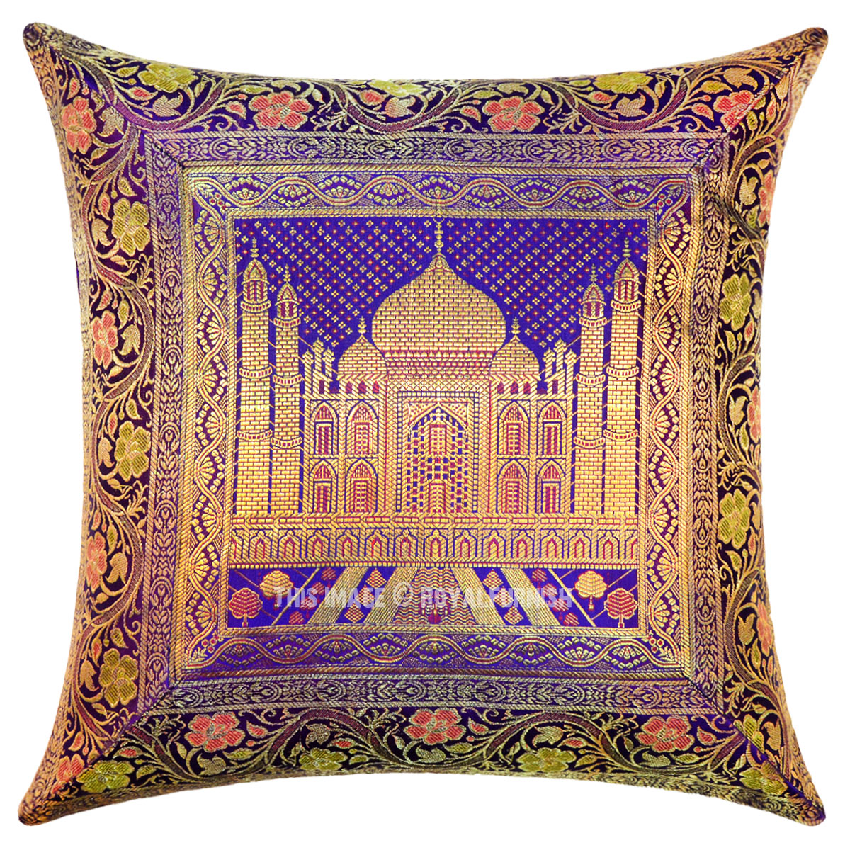 Purple Silk Throw Pillows : Purple Color Decorative Tajmahal Silk Brocade Throw Pillow Cover 16X16 - RoyalFurnish.com
