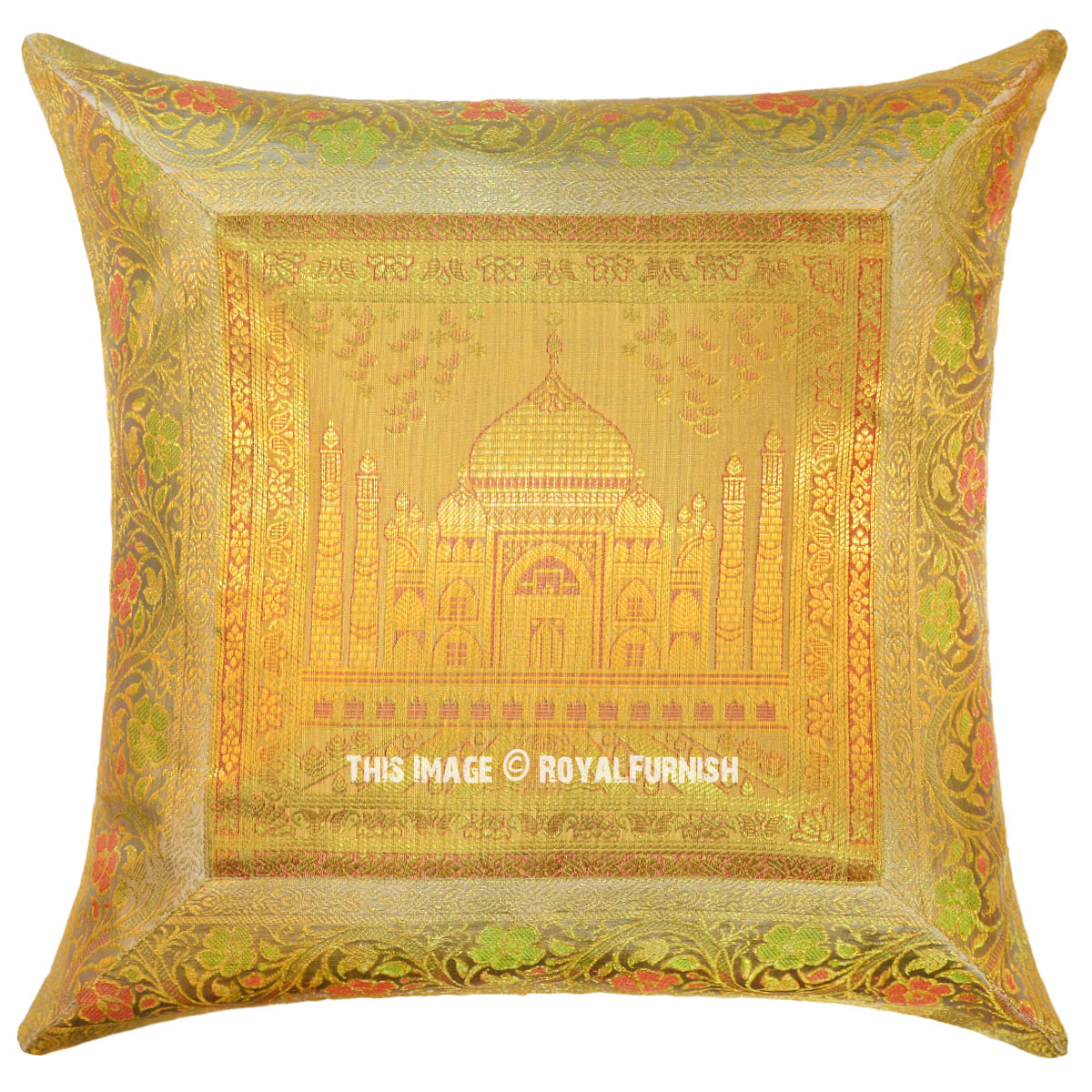 Yellow Color Decorative Tajmahal Silk Brocade Throw Pillow Cover 16X16 - RoyalFurnish.com