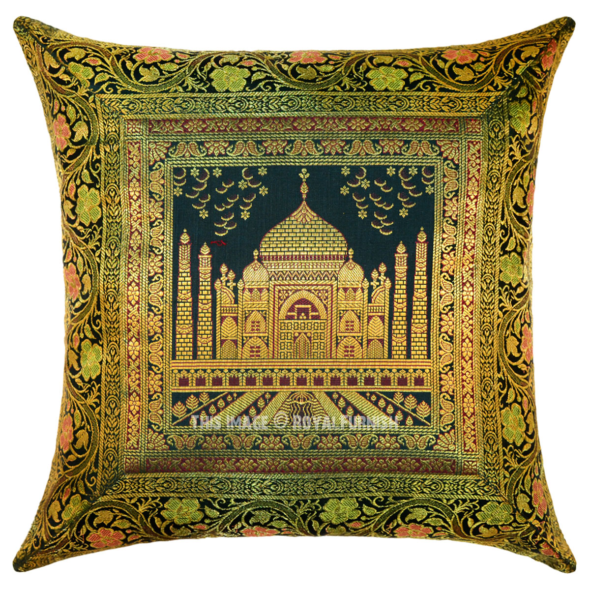 Green Multi Decorative Tajmahal Silk Throw Pillow Cover