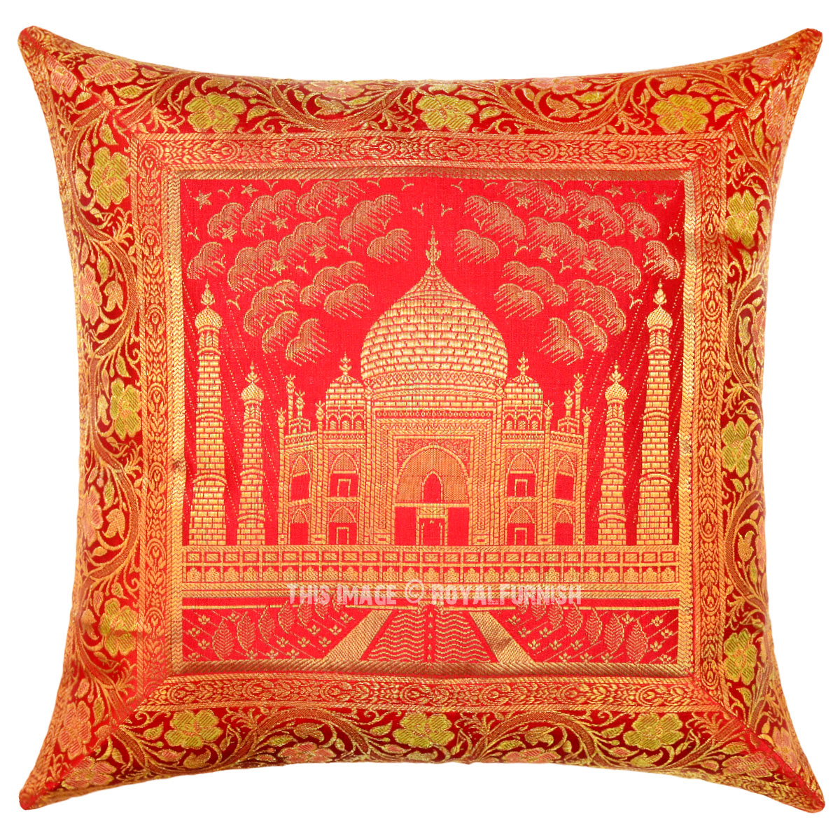 Red Silk Decorative Pillows : Red Color Decorative Tajmahal Silk Brocade Throw Pillow Cover 16X16 - RoyalFurnish.com