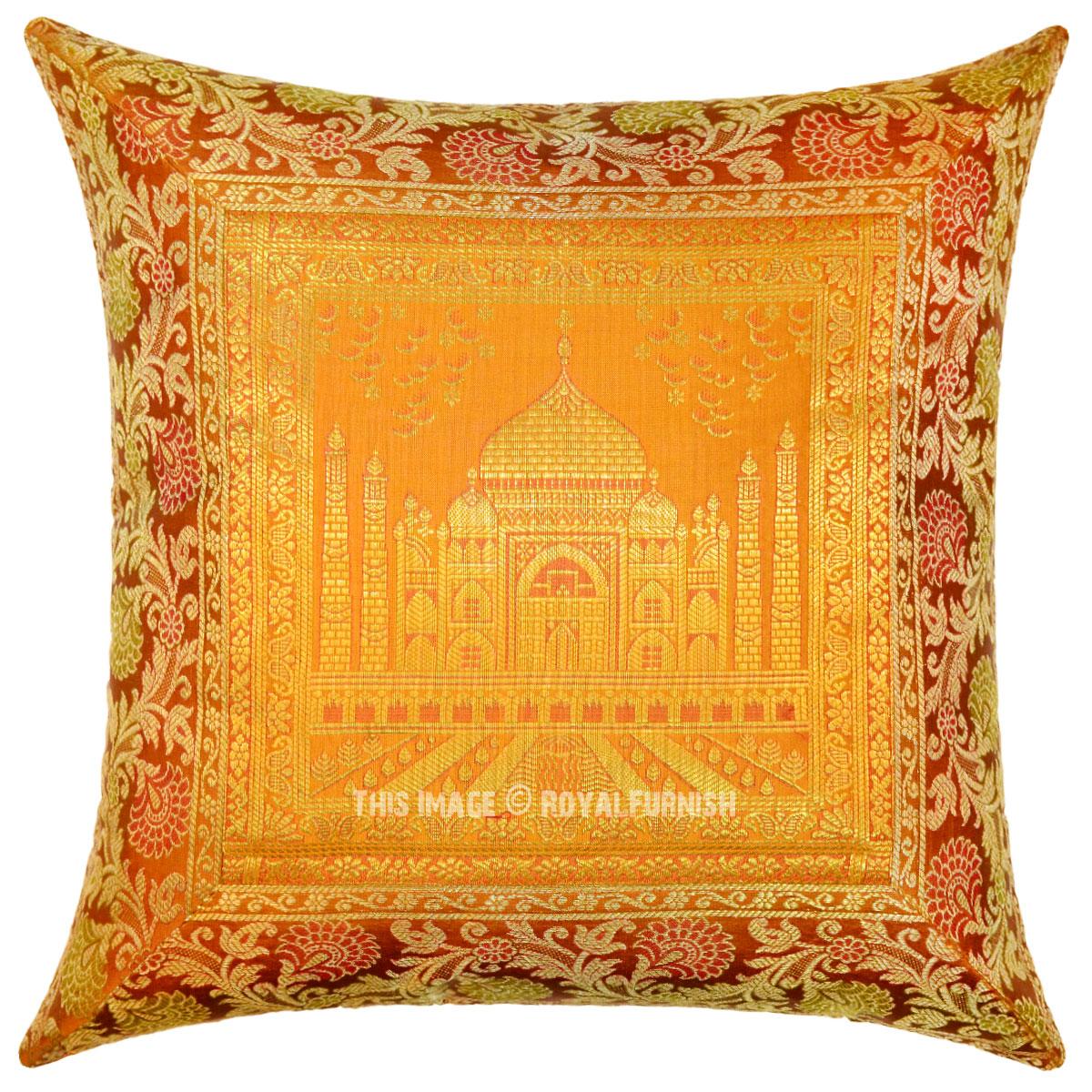 Gold Silk Decorative Pillow : Gold Color Decorative & Boho Accent Tajmahal Silk Throw Pillow Cover 16X16 - RoyalFurnish.com