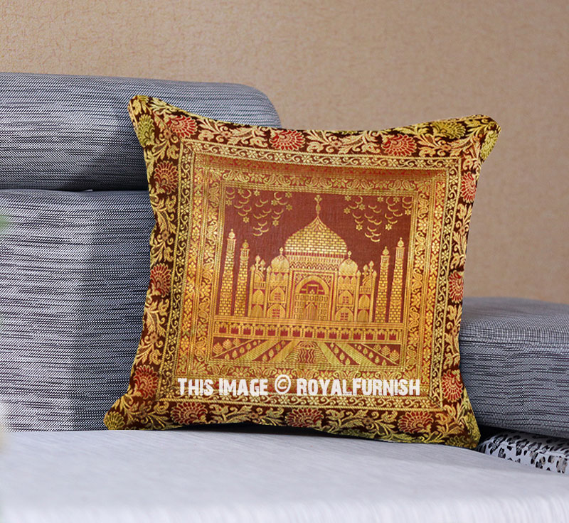 Brown Decorative Throw Pillows : Brown Decorative Floral Printed Tajmahal Silk Throw Pillow Case - RoyalFurnish.com