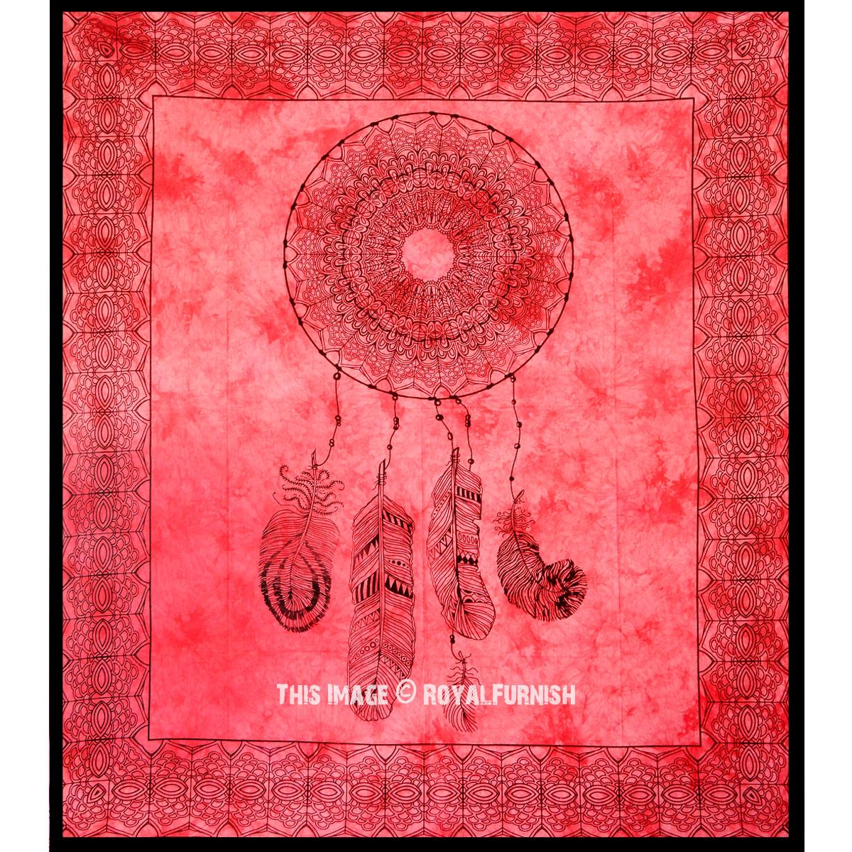 Red Dream Catcher Tapestry - RoyalFurnish.com