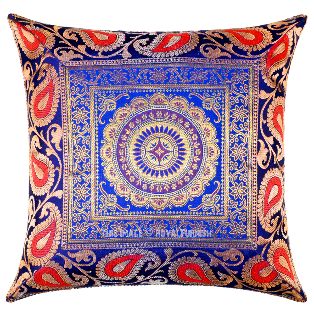 Blue Medallion Motif Decorative & Boho Accent Silk Throw Pillow Sham Cover - RoyalFurnish.com