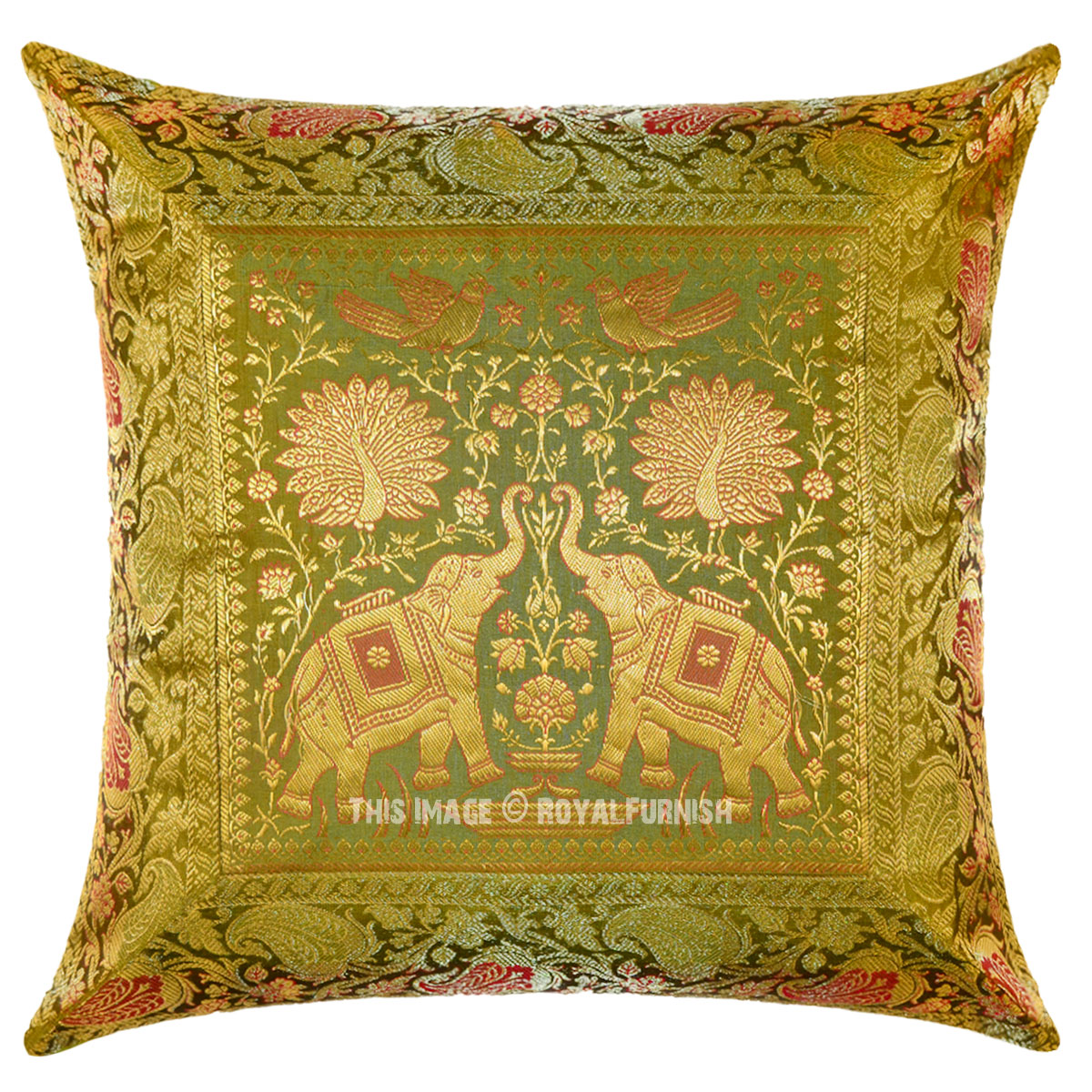 Green Silk Throw Pillow : Green Two Elephants Featuring Silk Throw Pillow Sham 16X16 - RoyalFurnish.com