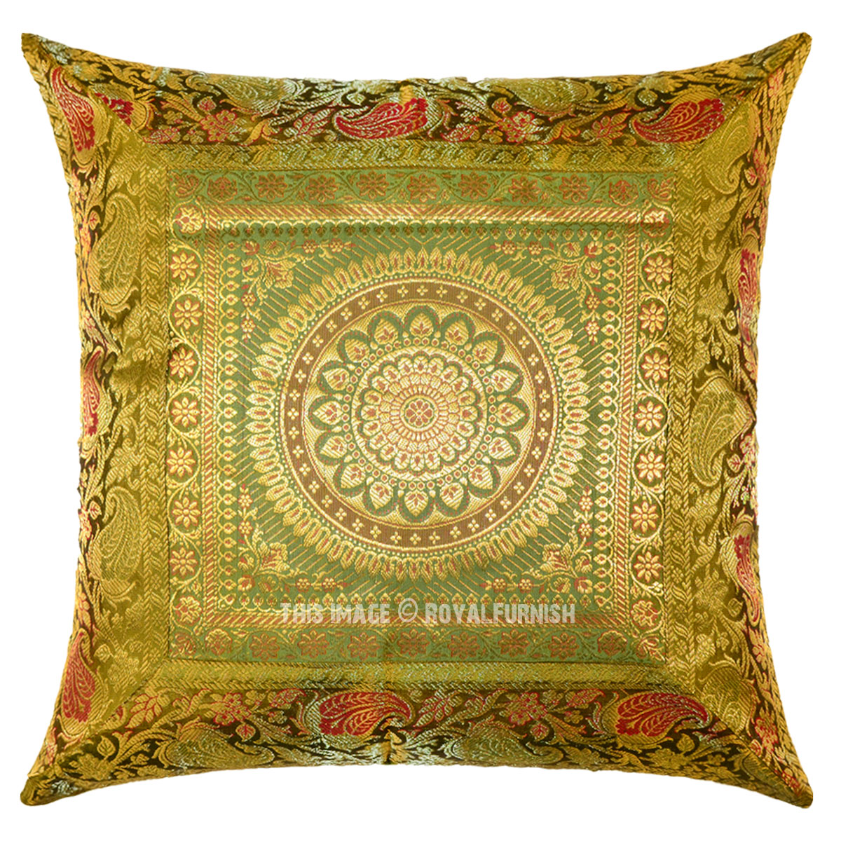 Green Silk Throw Pillow : Green Floral Medallion Circle 16X16 Decorative Silk Throw Pillow Case 16X16 - RoyalFurnish.com