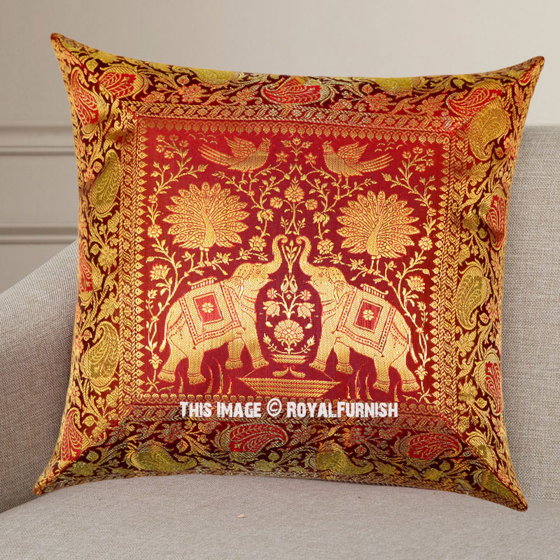 Maroon Peacock Elephants Featuring Silk Throw Pillow Case 16X16