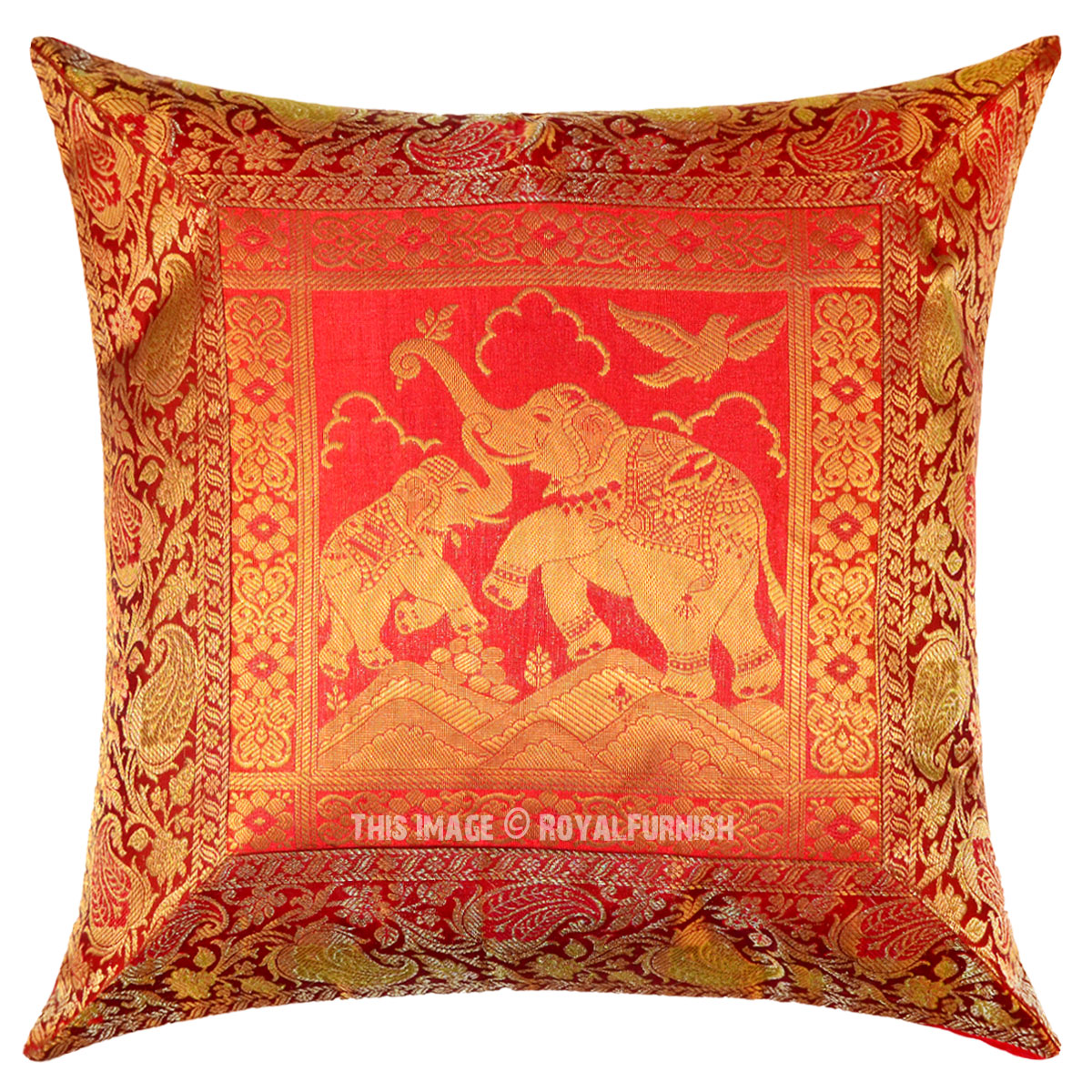 Red Silk Decorative Pillows : Red Elephants Motherhood Featuring Decorative Silk Pillow Cover 16X16 Inch - RoyalFurnish.com