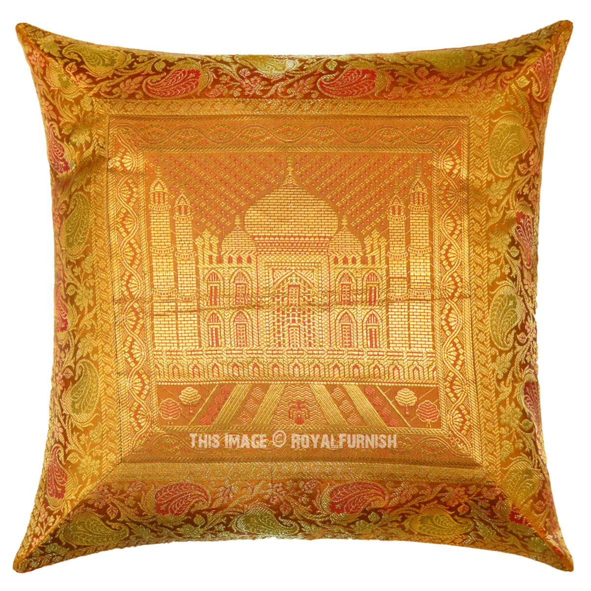 Gold Color Tajmahal Featuring Decorative India Silk Brocade Pillow Cover - RoyalFurnish.com