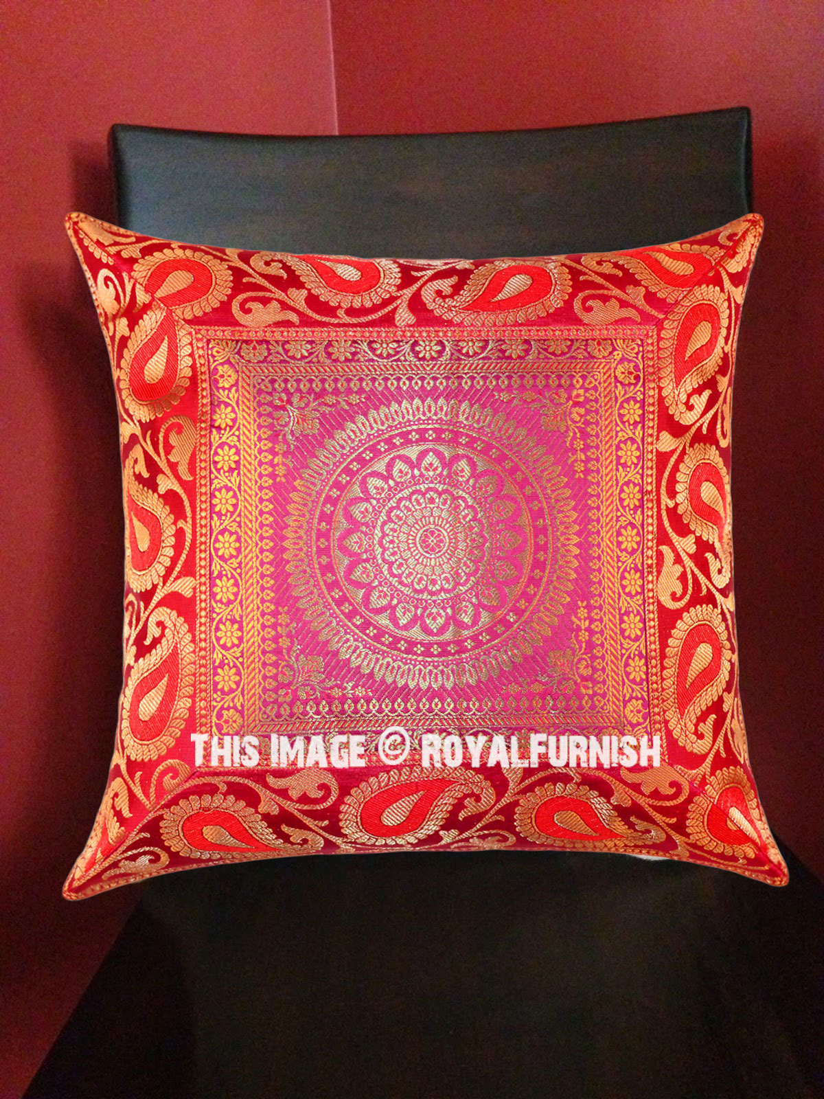 Pink Medallion Floral Circle Decorative Square Silk Pillow Sham Cover 16X16 Inch - RoyalFurnish.com