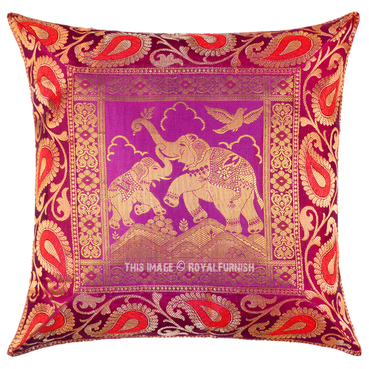 Pink Playing Elephants Featuring Decorative Silk Pillow