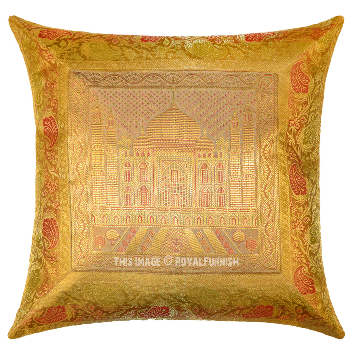 Yellow Silk Decorative Pillows : Yellow Gold Tajmahal Decorative Silk Throw Pillow Case 16X16 - RoyalFurnish.com