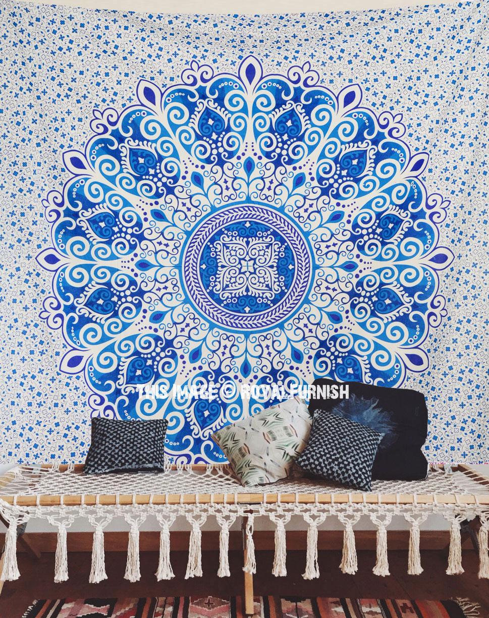 Teal Medallion Wall Decor : Blue teal zumba floral medallion mandala tapestry