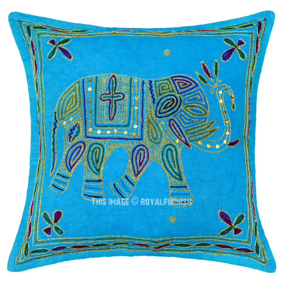 Turquoise Needlepoint 16X16 Decorative Embroidered Elephant Pillow Cover - RoyalFurnish.com